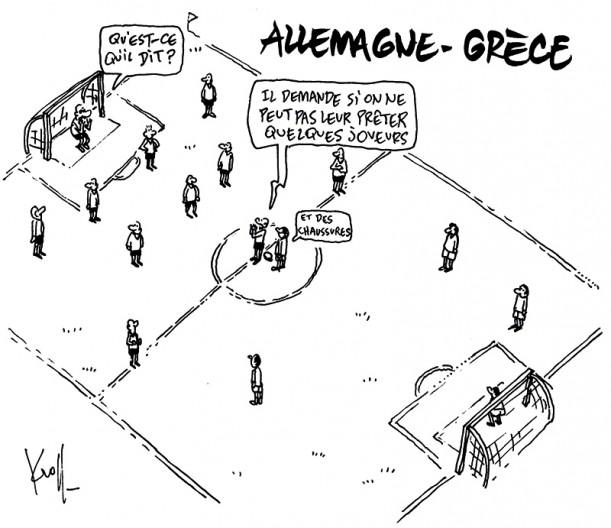 Press cartoon by Pierre Kroll on the Greece crisis