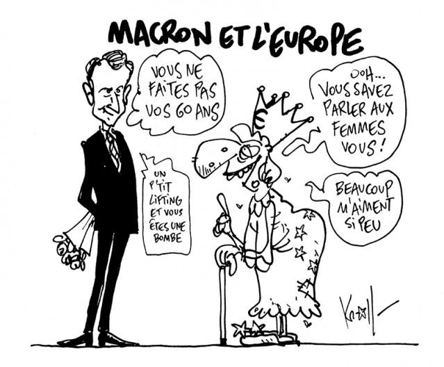 Press cartoon by Pierre Kroll on Macron